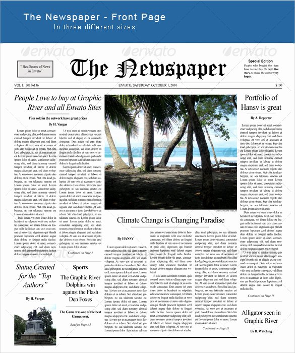 Newspaper Front Page Template Lovely Sample Newspaper Front Page 5 Documents In Word Pdf Psd