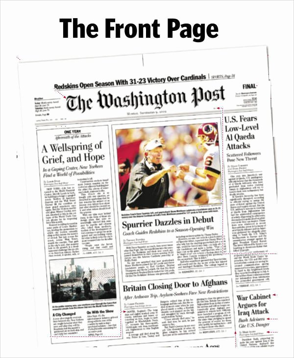 Newspaper Front Page Template Luxury Free 53 Amazing Newspaper Templates In Pdf Ppt Word