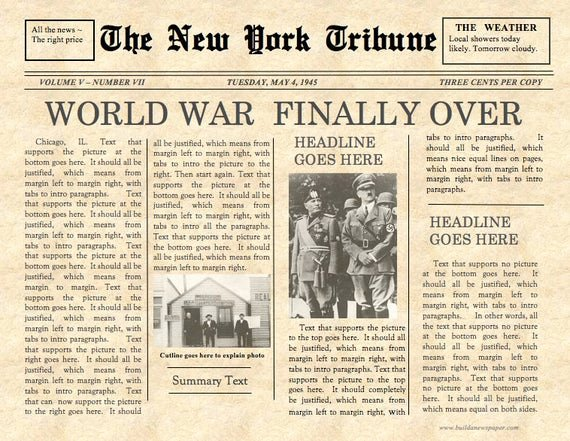 Newspaper Front Page Template New Vintage Front Page Newspaper Template Instant Download for