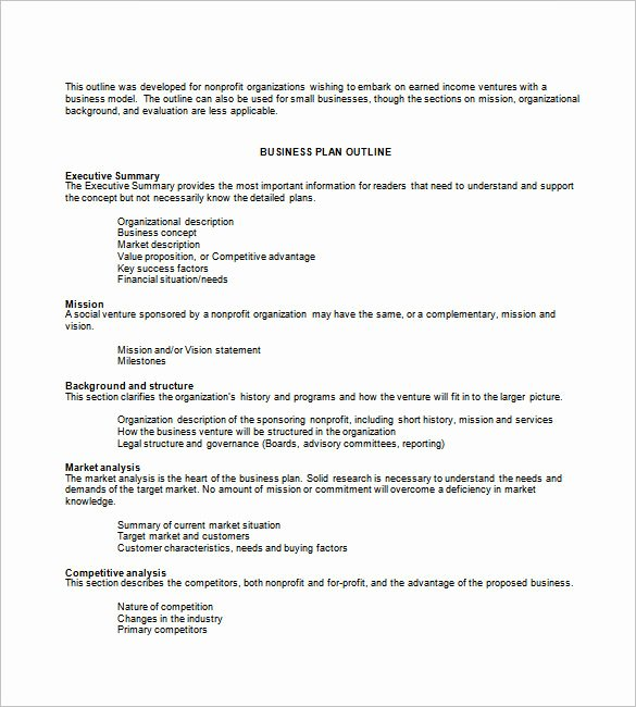 Non Profit Business Plan Fresh Business Plan Template 74 Free Word Excel Pdf Psd