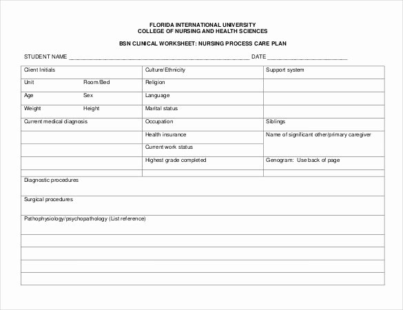 Nursing Care Plans Template Beautiful Nursing Care Plan Template 20 Free Word Excel Pdf