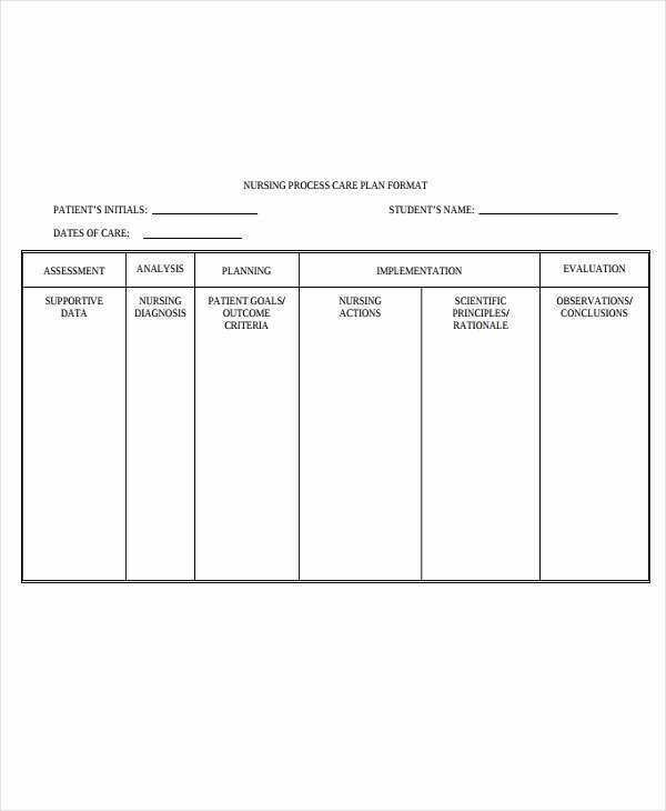Nursing Care Plans Template Fresh 10 Nursing Care Plan Templates Free Sample Example