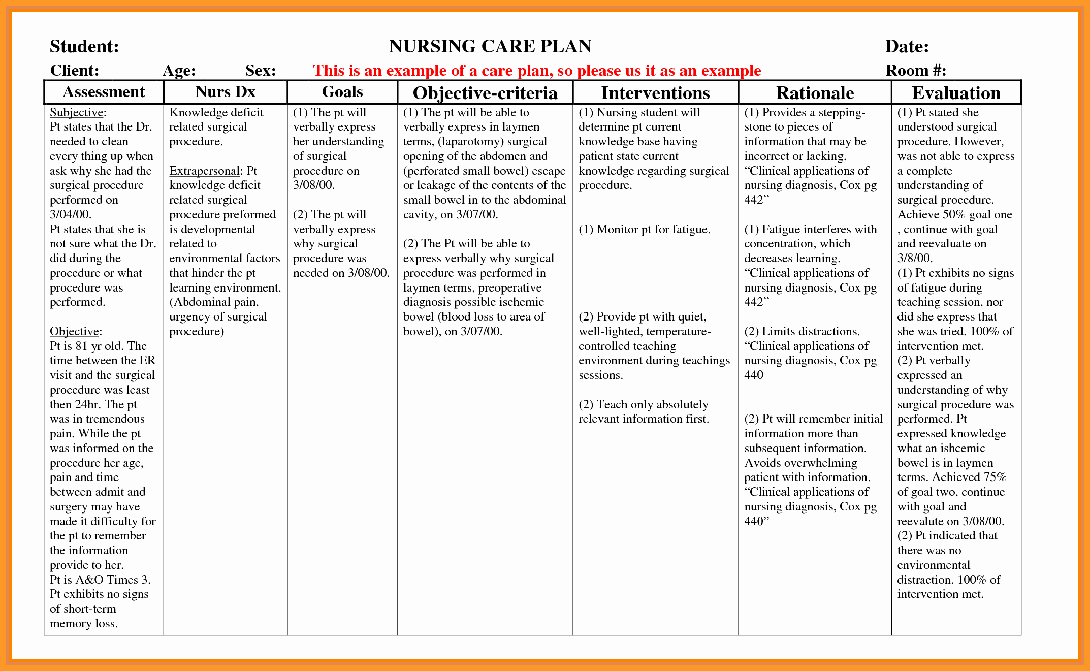 Nursing Care Plans Template Inspirational 9 10 Nursing Care Plan format