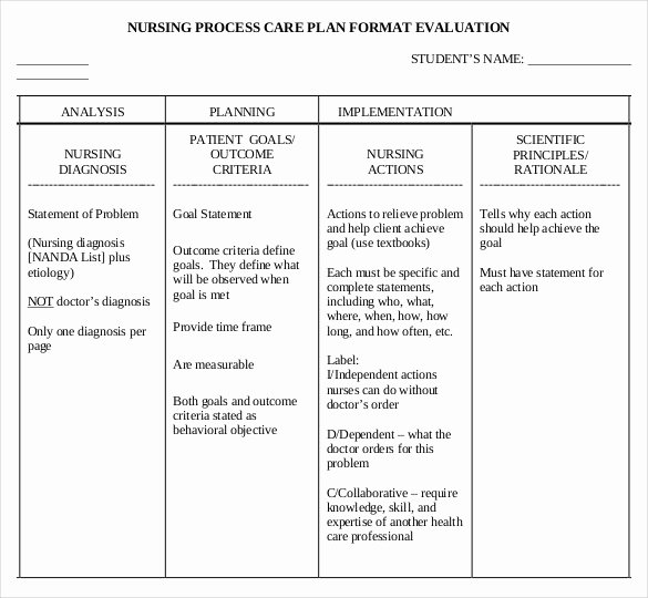 Nursing Care Plans Template Lovely Nursing Care Plan Template