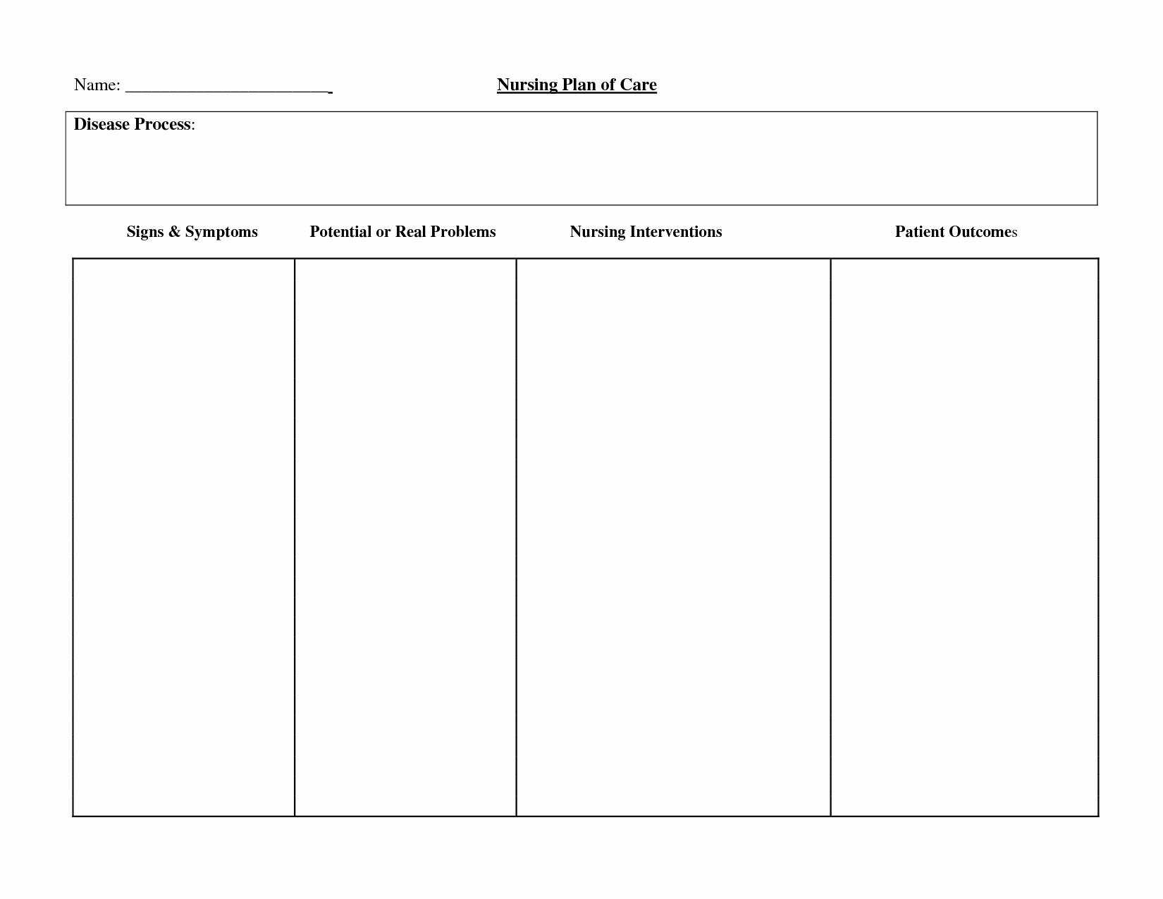 Nursing Care Plans Template New 16 Of ati Nursing Template Blank