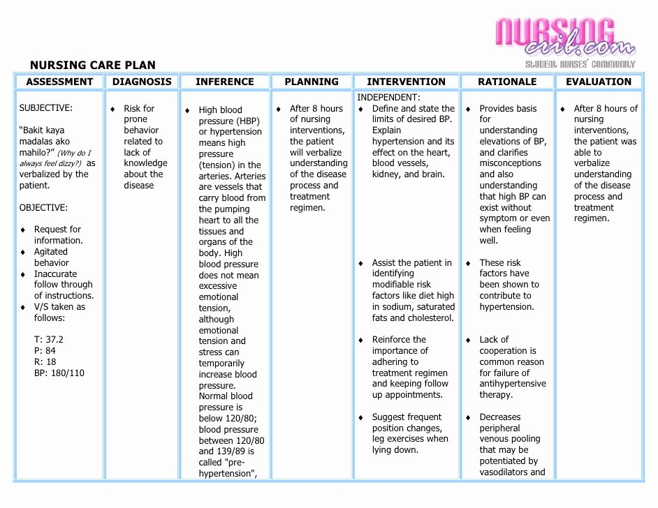 Nursing Care Plans Template Unique Nursing Care Plan Hypertension