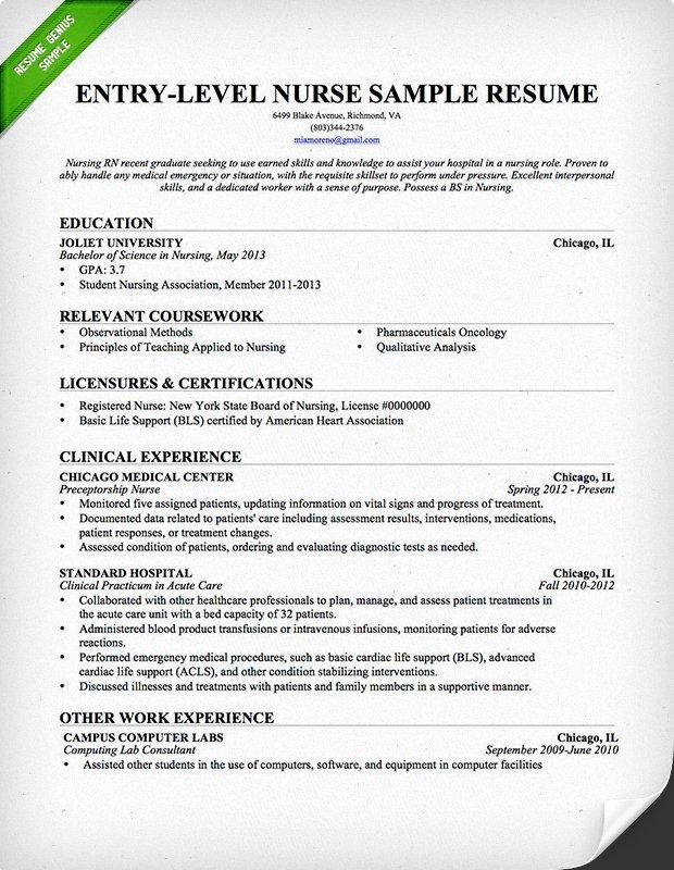 Nursing Student Resume Template Beautiful Entry Level Nurse Resume Sample