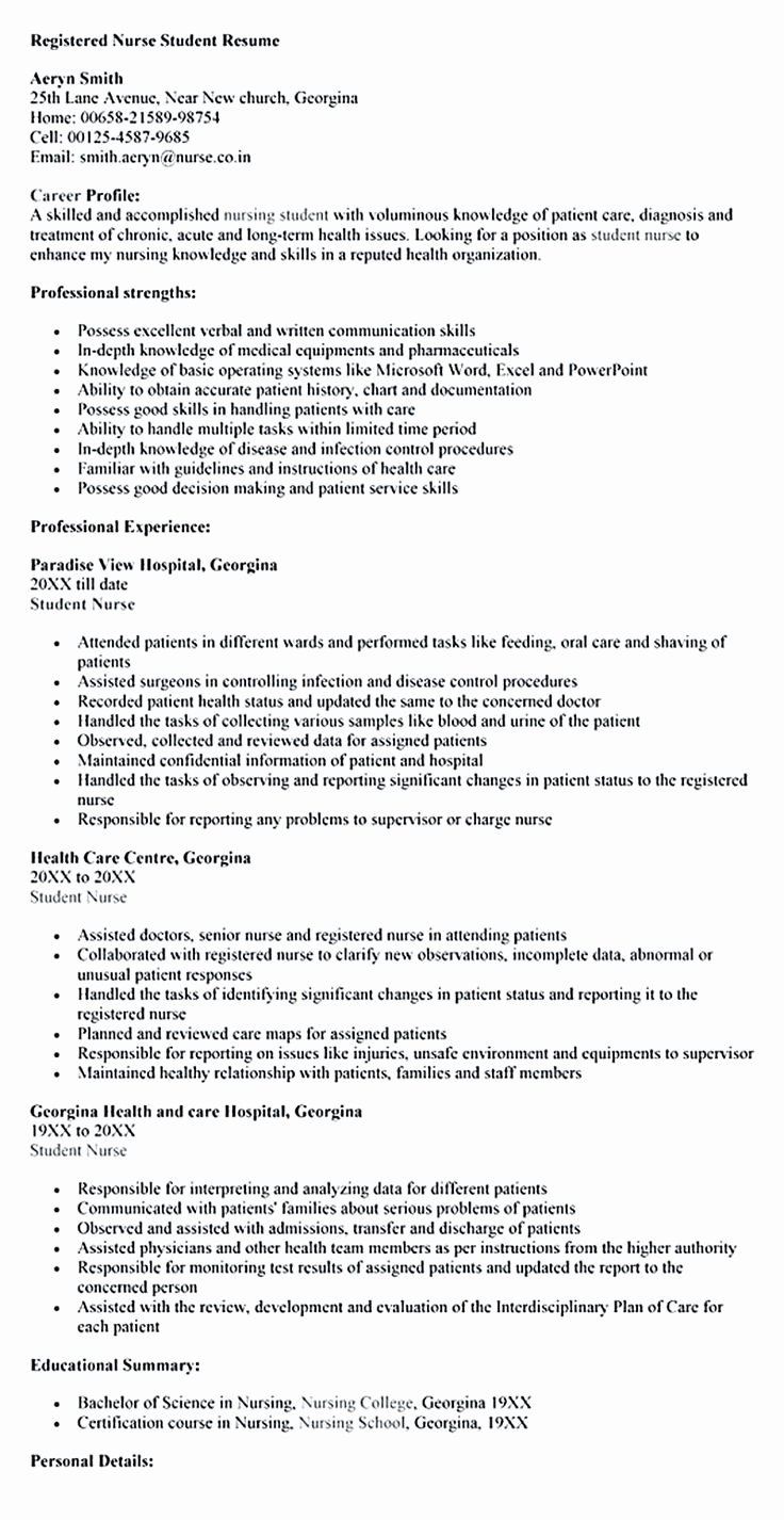 Nursing Student Resume Template Beautiful Nursing Student Resume Must Contains Relevant Skills