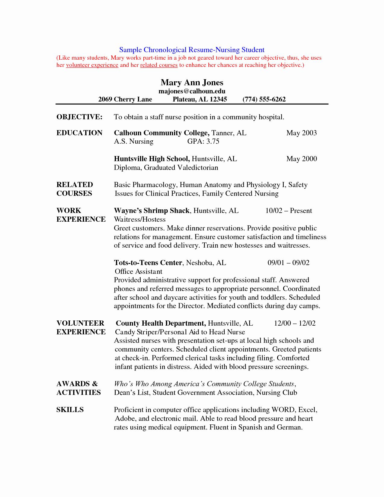 Nursing Student Resume Template Beautiful Nursing Student Resume