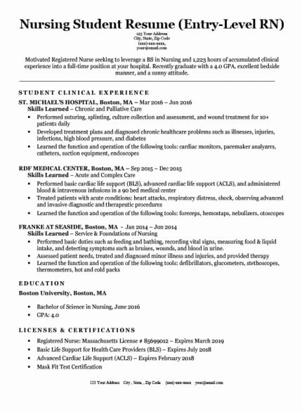 Nursing Student Resume Template Best Of Registered Nurse Rn Resume Sample & Tips