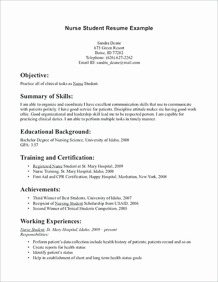 Nursing Student Resume Template Elegant 11 12 Sample Pitch for Resume