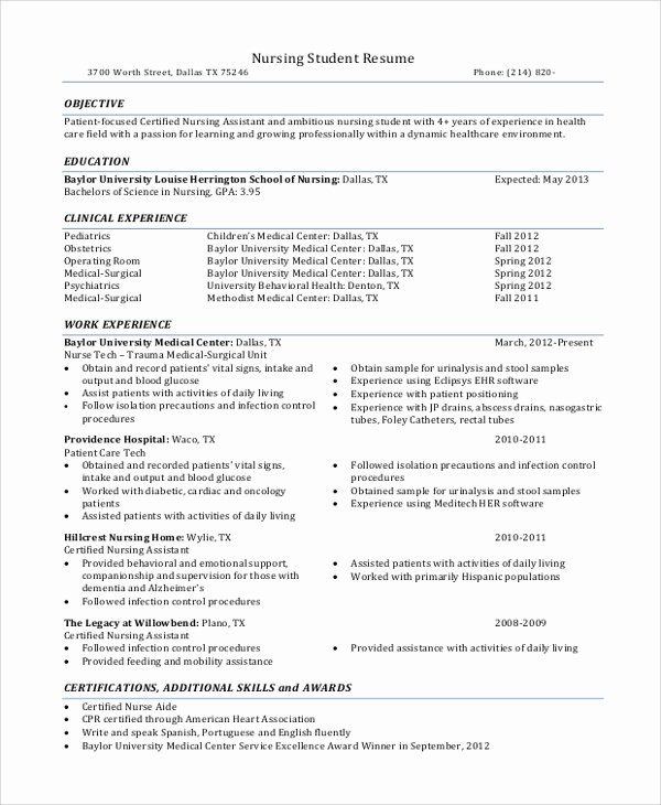 Nursing Student Resume Template Elegant Sample Nursing Student Resume 8 Examples In Word Pdf