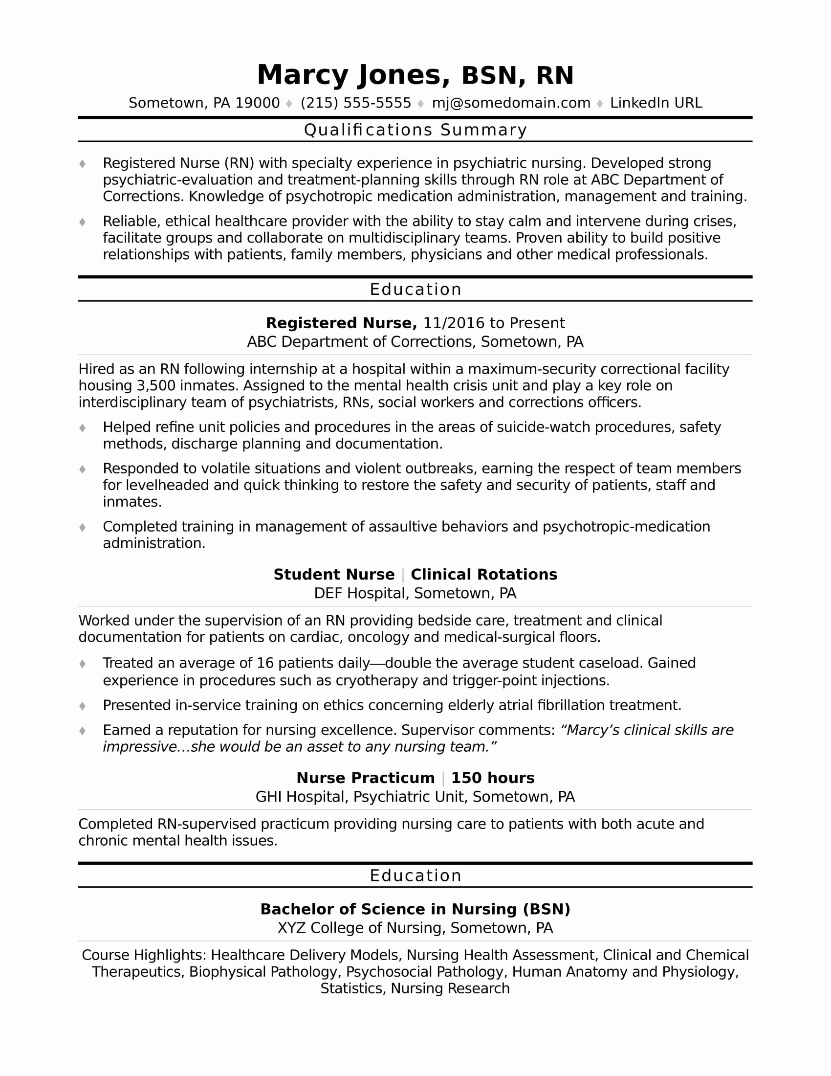 Nursing Student Resume Template Fresh Registered Nurse Rn Resume Sample