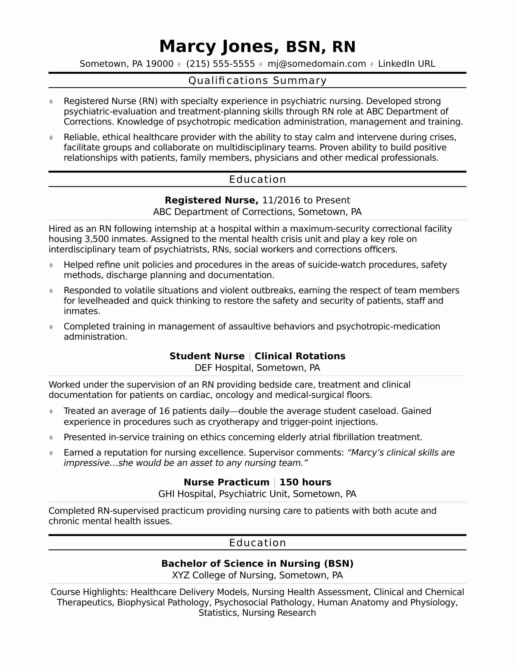 Nursing Student Resume Template Fresh Registered Nurse Rn Resume Sample