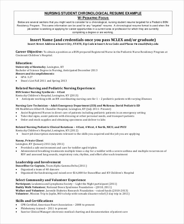 Nursing Student Resume Template Fresh Sample Nursing Student Resume 8 Examples In Word Pdf