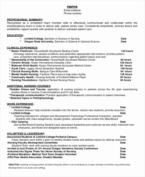 Nursing Student Resume Template Inspirational Nursing Student Resume Example 10 Free Word Pdf