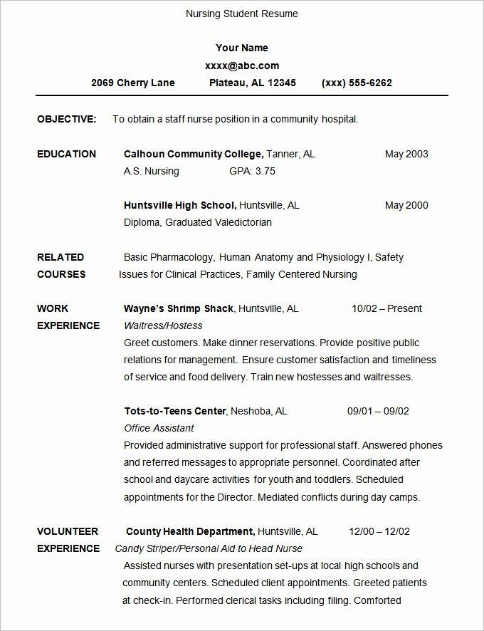 Nursing Student Resume Template Lovely 24 Student Resume Templates Pdf Doc
