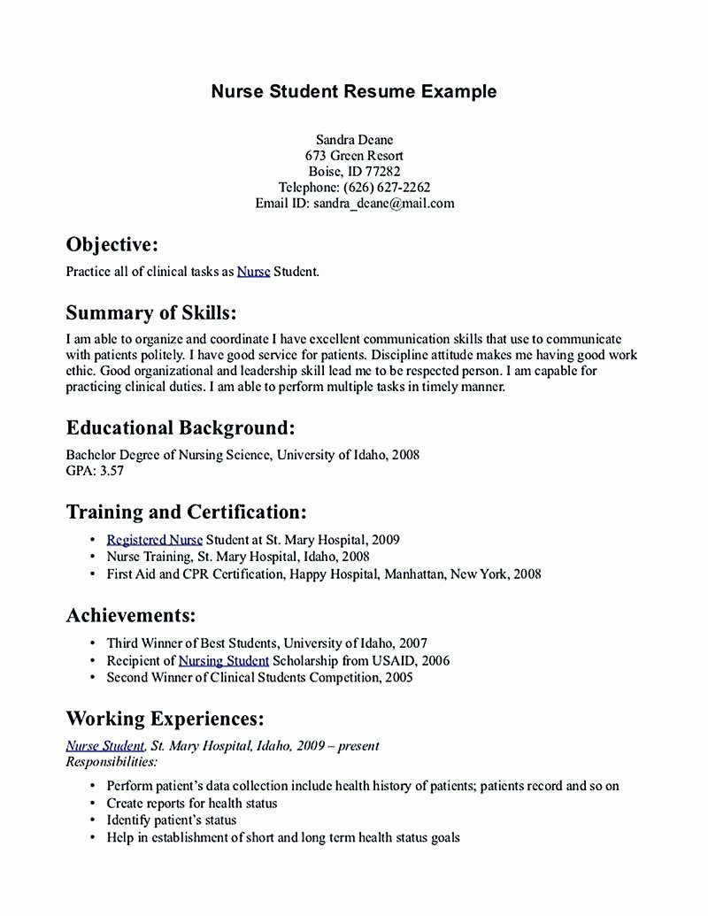 Nursing Student Resume Template New Nursing Student Resume Must Contains Relevant Skills