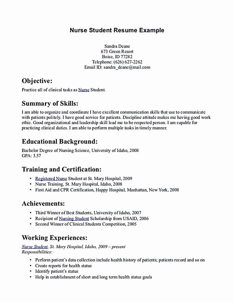 Nursing Student Resume Template New Nursing Student Resume Must Contains Relevant Skills