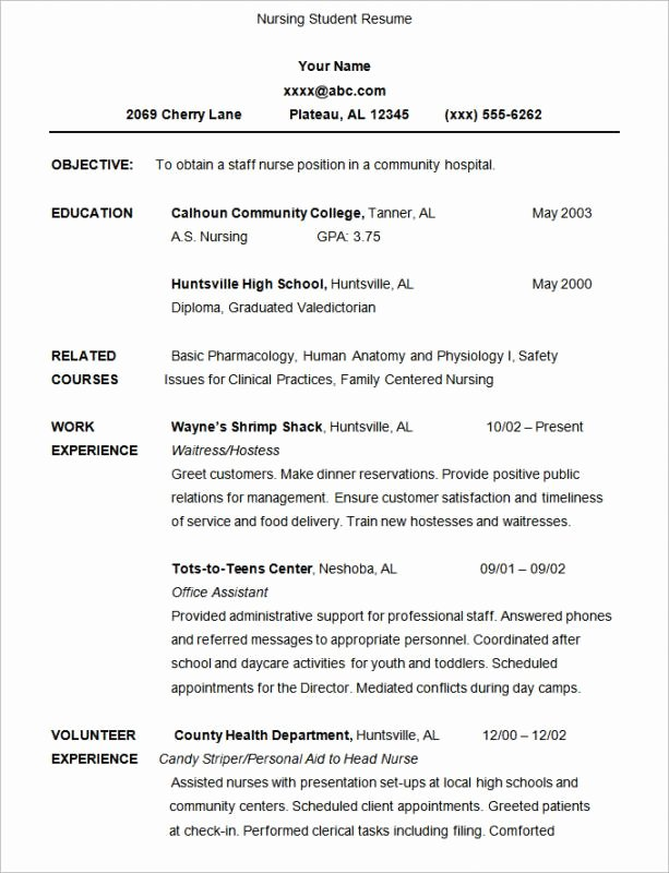 Nursing Student Resume Template Unique Nursing Student Resume