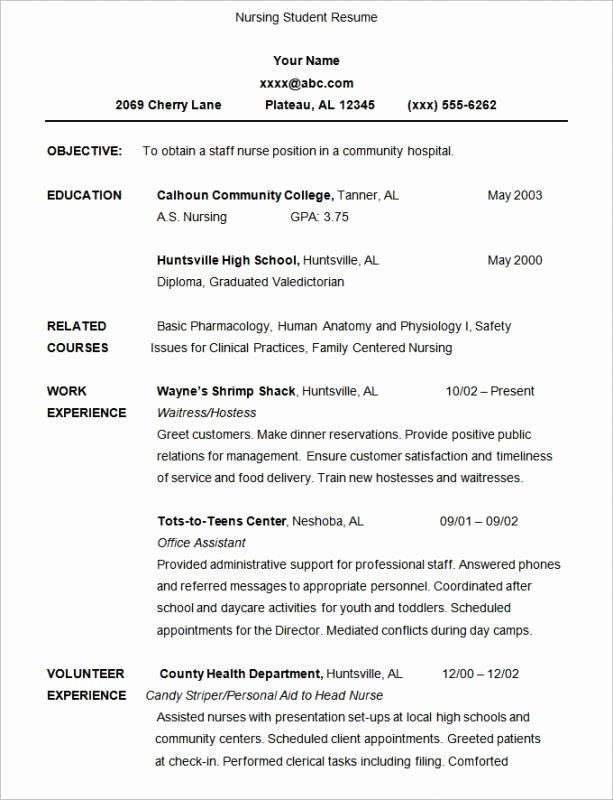 Nursing Student Resume Template Unique Nursing Student Resume