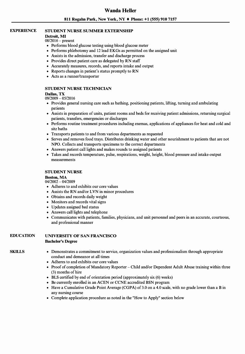 Nursing Student Resume Template Unique Student Nurse Resume Samples