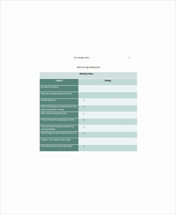 One Page Marketing Plan Best Of 7 E Page Marketing Templates – Free Sample Example
