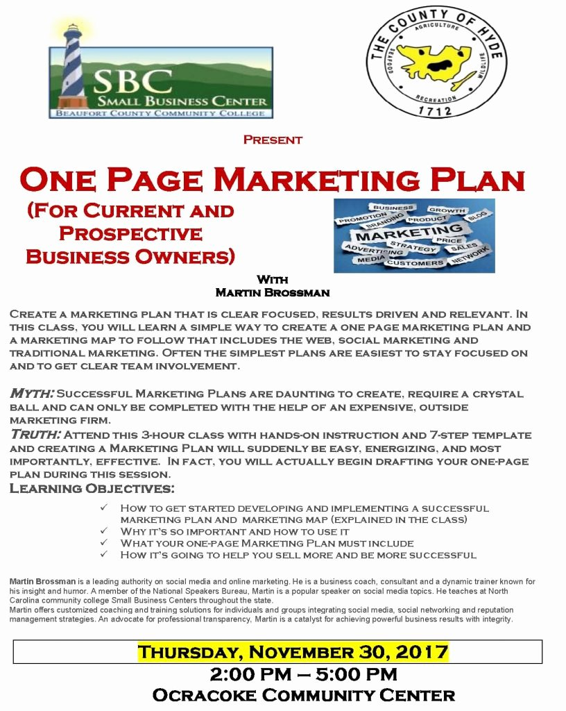One Page Marketing Plan Elegant Business Classes On Marketing and Using Video On Tap for