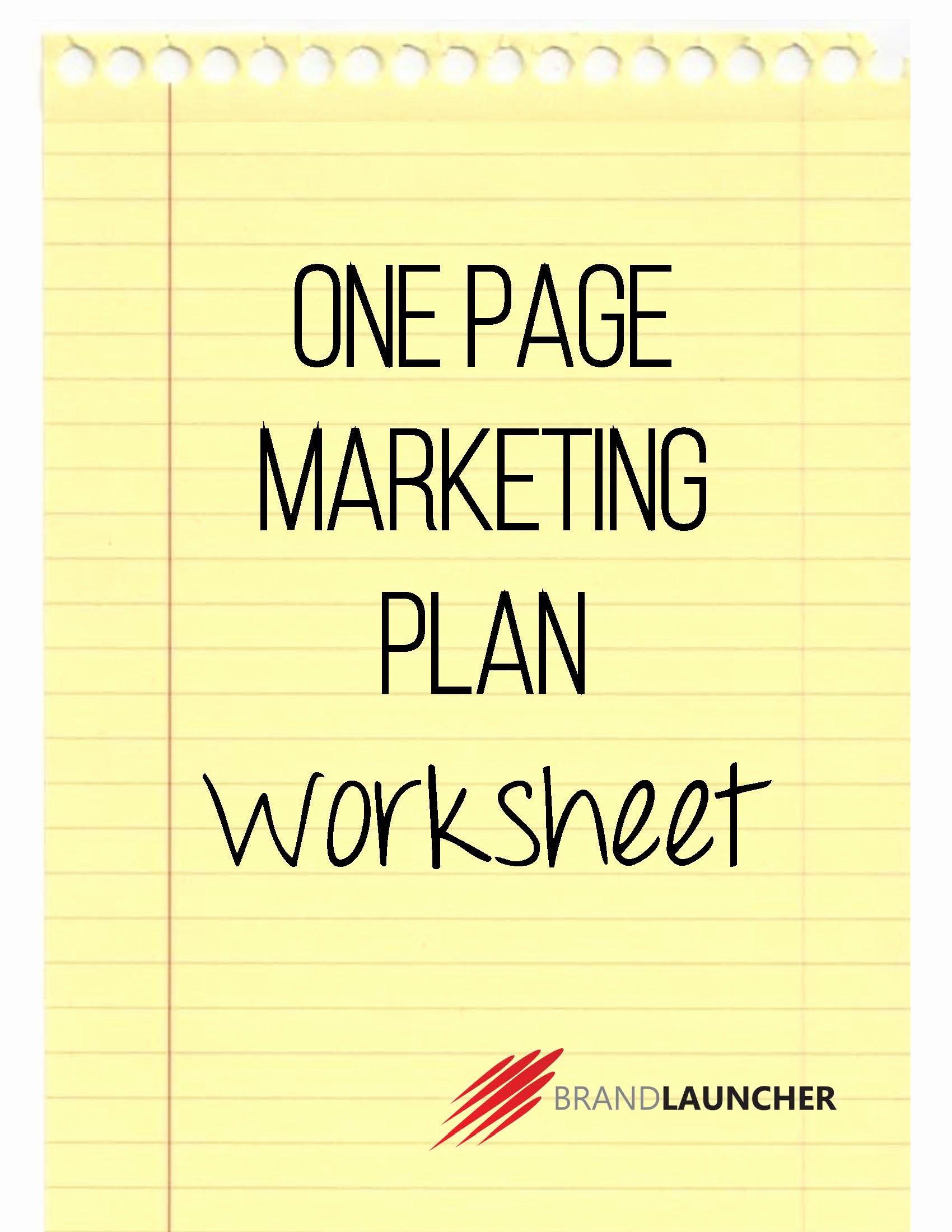 One Page Marketing Plan Fresh E Page Marketing Plan Worksheet