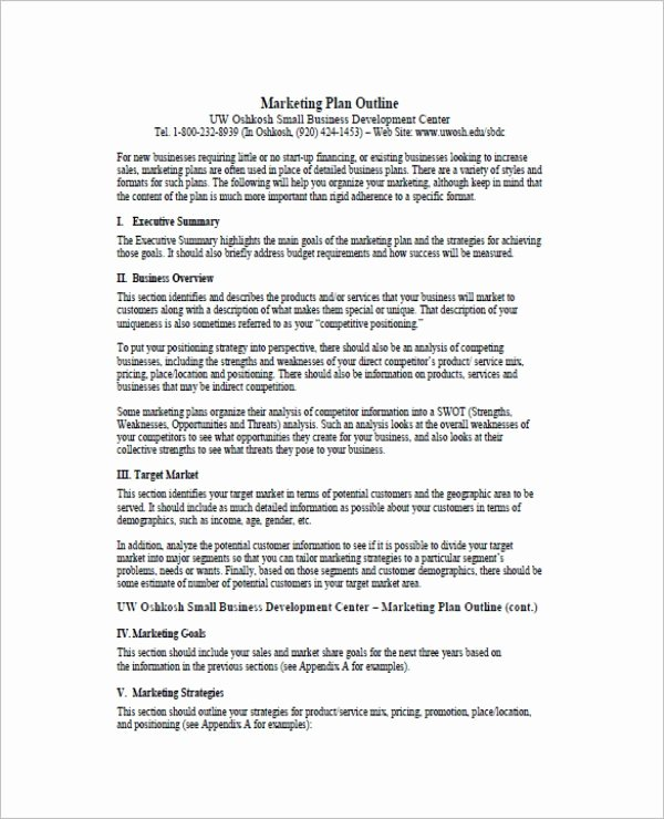 One Page Marketing Plan Inspirational 7 E Page Marketing Plan Templates Pdf Word