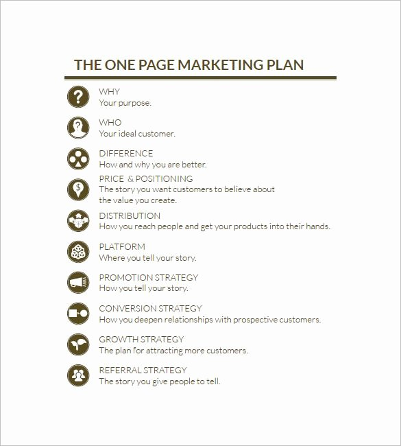 One Page Marketing Plan New E Page Marketing Plan Marketing Plan Outline
