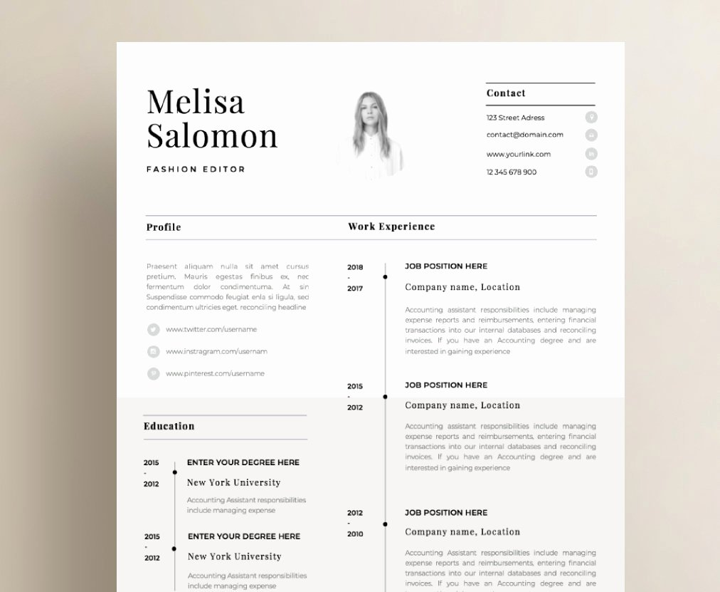 One Page Resume Examples Beautiful E Page Resume Template with Photo for Word & Pages Cv