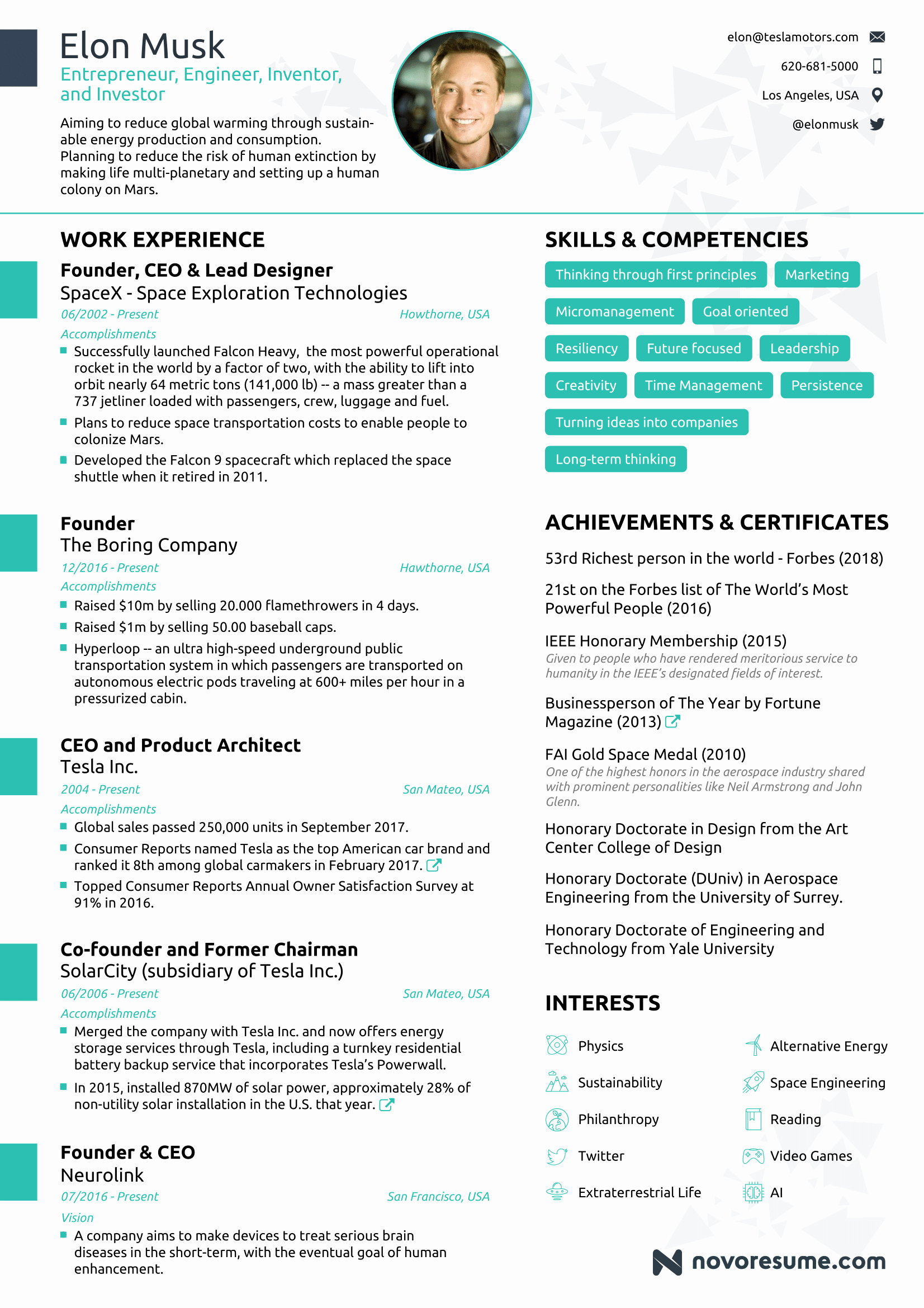 One Page Resume Examples Elegant the Résumé Of Elon Musk by Novorésumé