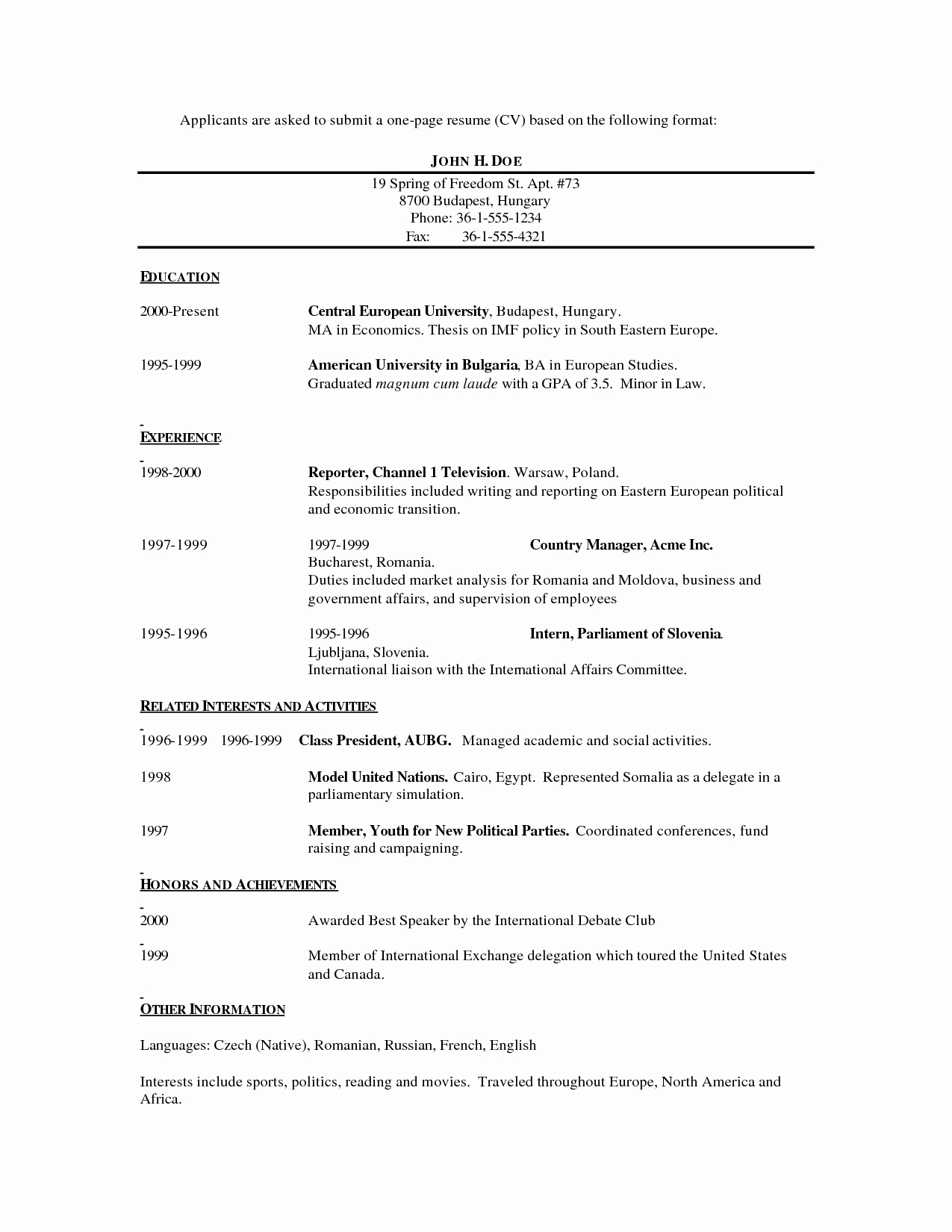 One Page Resume Examples Fresh E Page Resume Template
