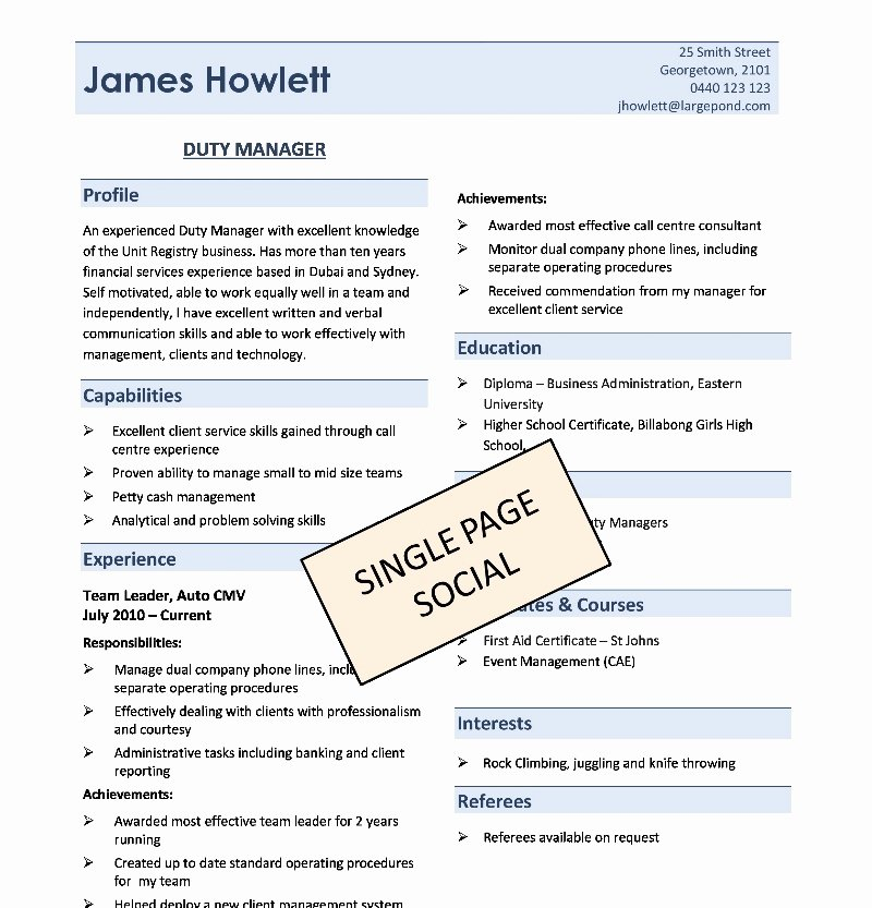 One Page Resume Examples Lovely E Page Resume Template
