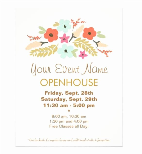 Open House Flyer Templates Luxury Open House Flyer Templates Word Excel Samples
