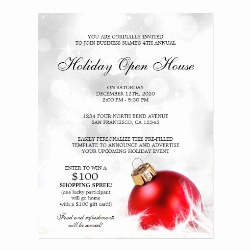 Open House Flyer Templates Luxury Pre Filled Holiday Open House Flyer Template