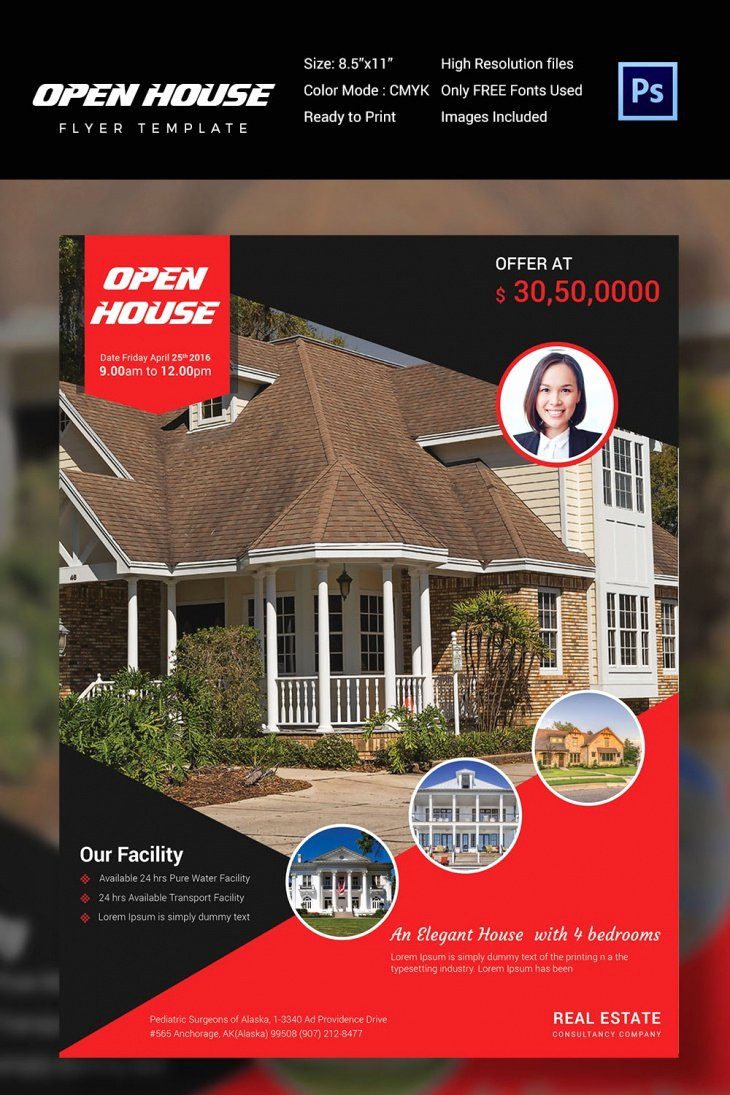 Open House Flyer Templates New 30 Open House Flyers Printable Psd Ai Word Eps