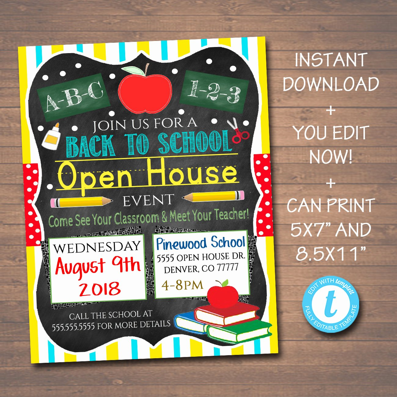 Open House Flyer Templates Unique Editable School Open House Flyer Printable Pta Pto Flyer
