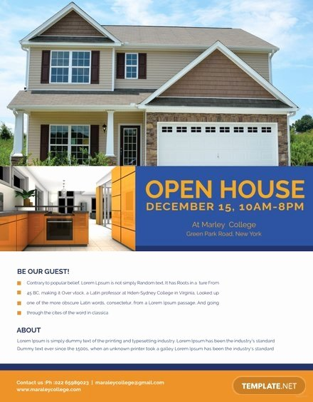 Open House Flyer Templates Unique Printable Open House Flyer Template In Adobe Shop
