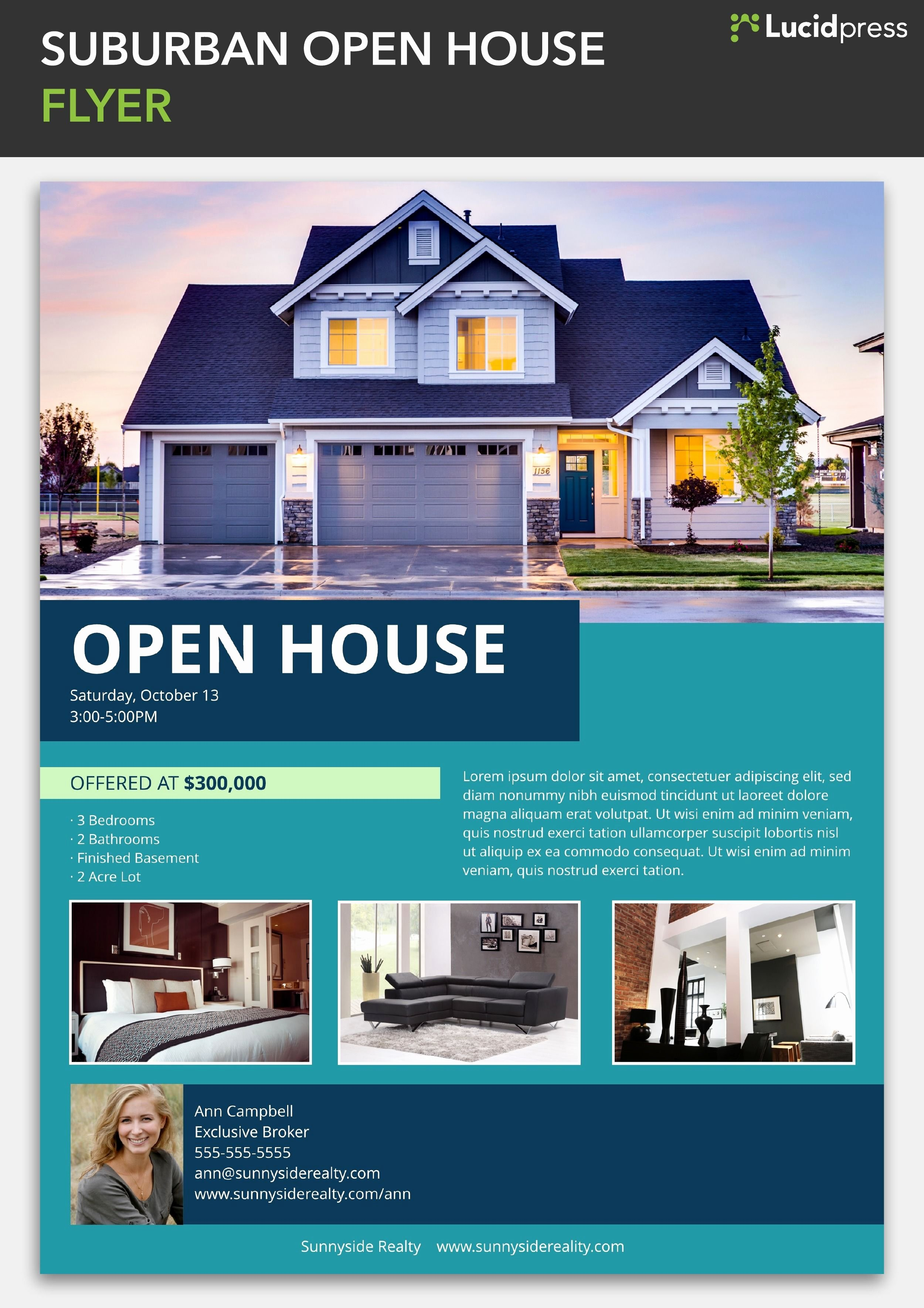 Open House Flyers Templates Awesome Suburban Open House Flyer Template