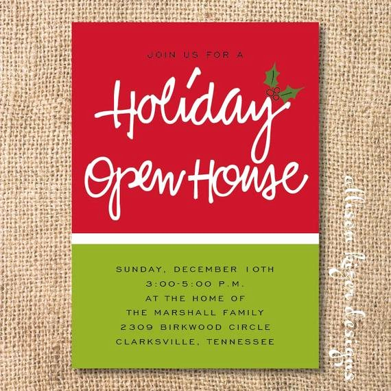 Open House Invitation Templates Fresh Items Similar to Holiday Open House Printable Invitation