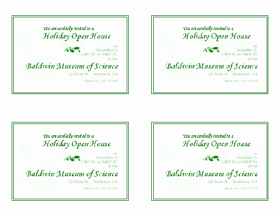 Open House Invitation Templates Inspirational Holiday Open House Invitation 4 Per Page
