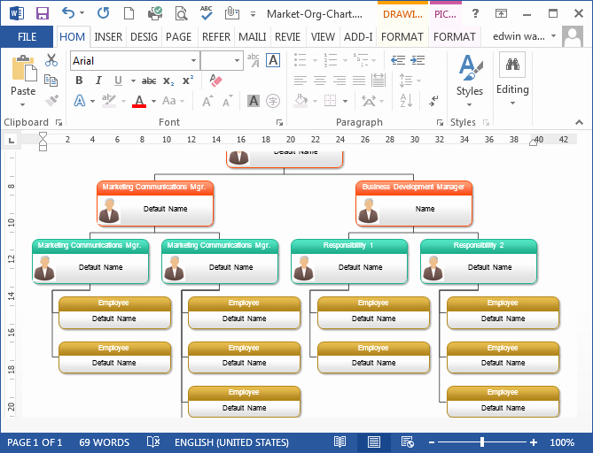 Organizational Chart Template Word Elegant to Create organizational Chart In Ms Word Programs