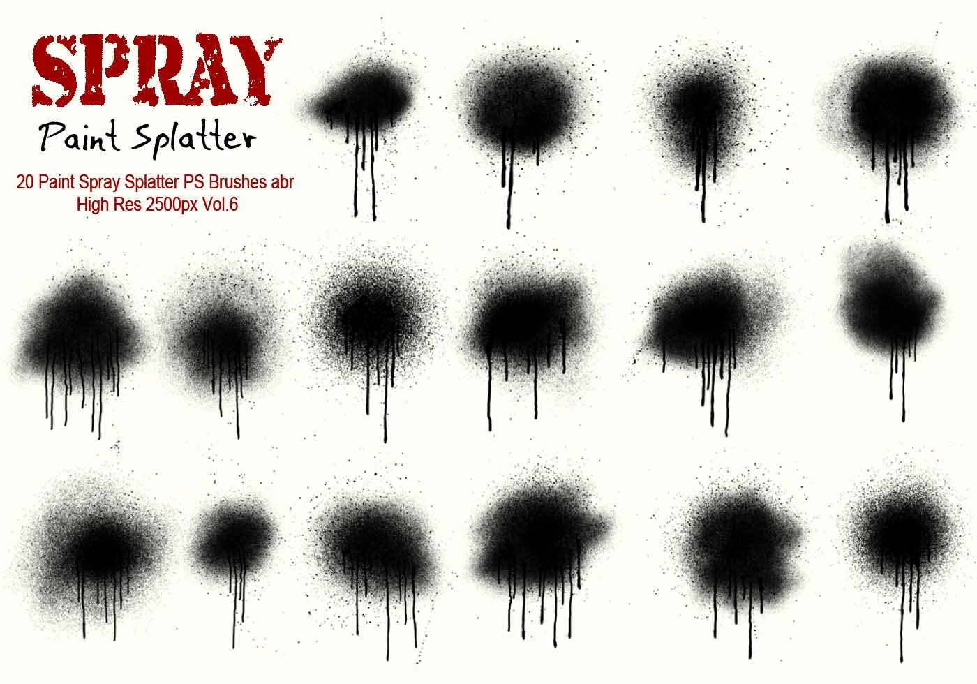 Paint Splatter Brush Photoshop Luxury 20 Paint Spray Splatter Ps Brushes Vol 6 Free Shop