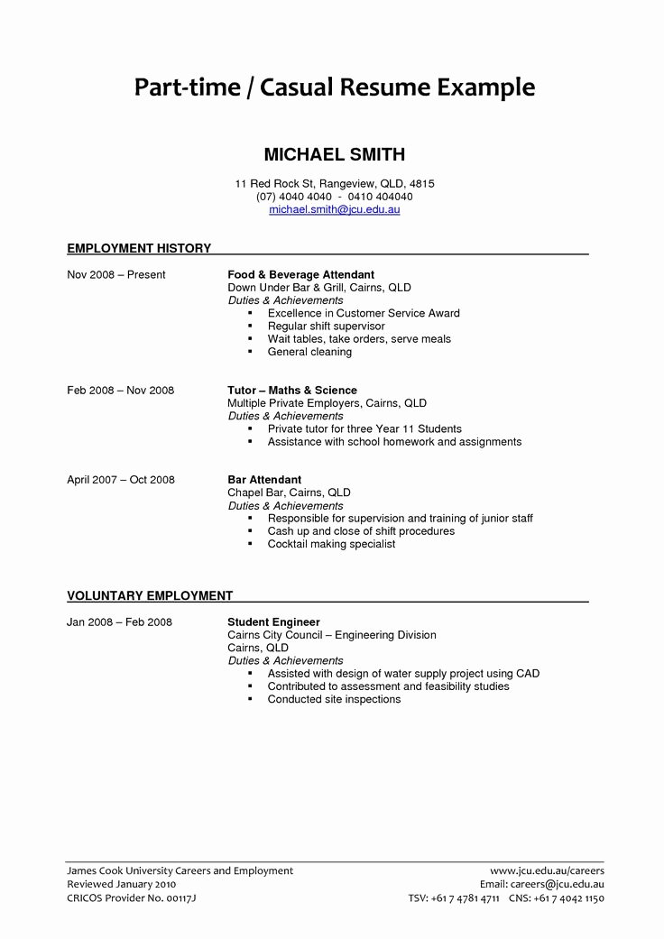 Part Time Job Resume Awesome Part Time Job Resume Examples 2018 Resume Examples 2018