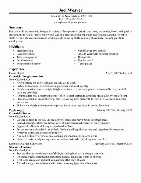 Part Time Job Resume Best Of Best Part Time Overnight Freight associates Resume Example
