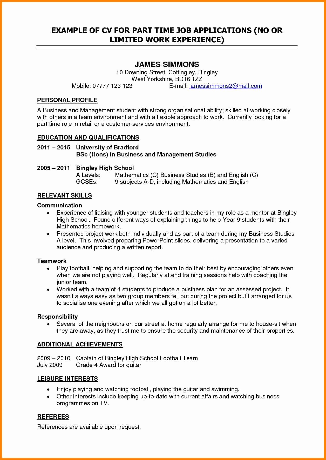 Part Time Job Resume Best Of Part Time Student Jobs In Leicester October