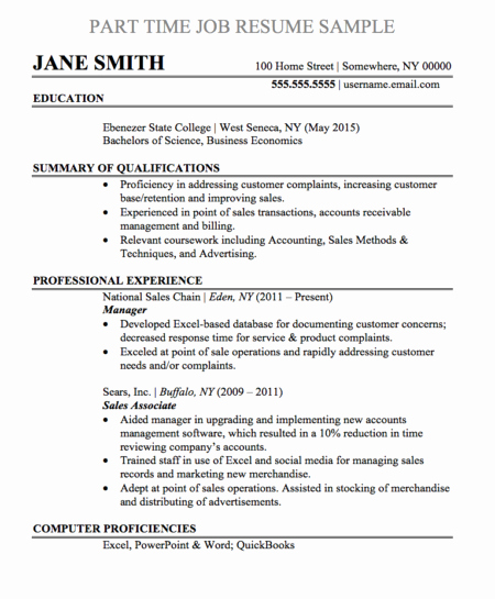 Part Time Job Resume Best Of Resume Samples and Templates