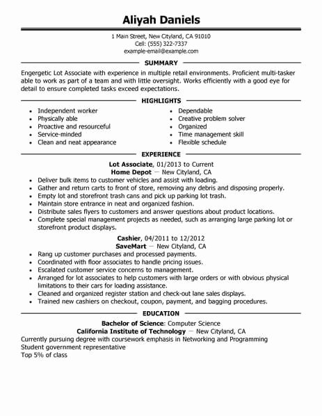 Part Time Job Resume Elegant Best Part Time Lot associates Resume Example